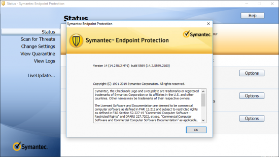 برنامج Symantec Endpoint Protection 14.2.5569.2100